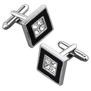 BasAcc Black/ Silver Square with 4 Jewels Cufflink
