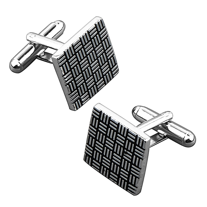 INSTEN Grey/ Black Square Cufflink