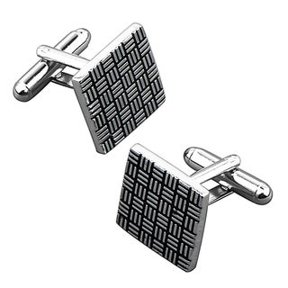 BasAcc Grey/ Black Square Cufflink