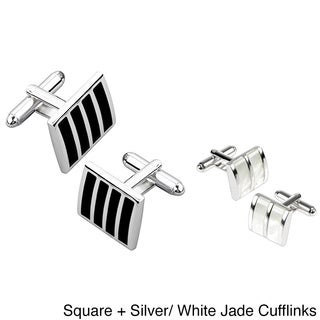 Zodaca Black/ Silver Square Striped Cufflinks