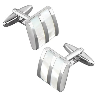 BasAcc Nickel-plated Silvertone Striped White Jade Camber Cufflinks
