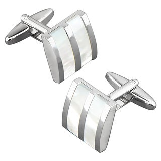 Zodaca Nickel-plated Silvertone Striped White Jade Camber Cufflinks