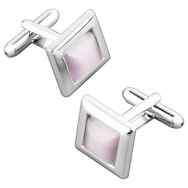 BasAcc Pink Transparent Frame Square Cufflink