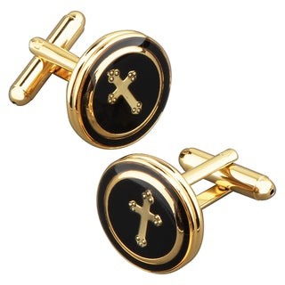 BasAcc Black/ Copper Round with a Cross Cufflink