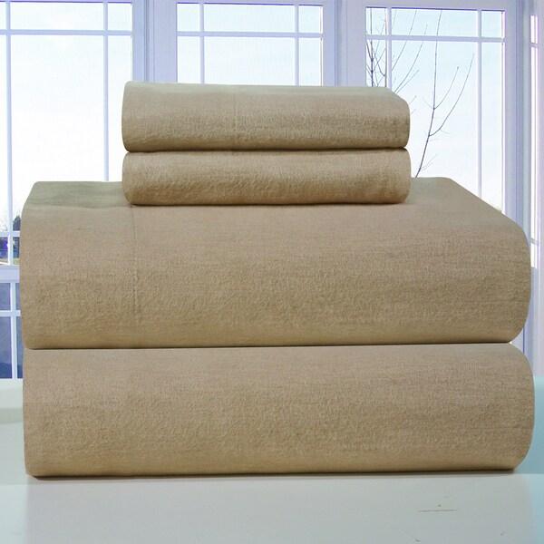 Pointehaven Linen Solid heavy weight flannel sheet set