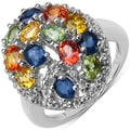 Malaika Sterling Silver Multi-sapphire and White Topaz Ring