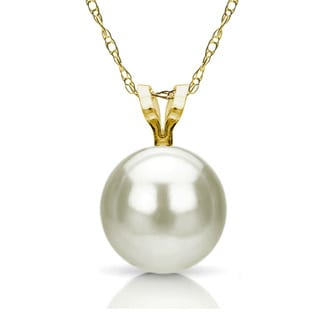 DaVonna 14k Gold White 8-8.5mm Akoya Pearl Pendant (18 in) with Gift Box