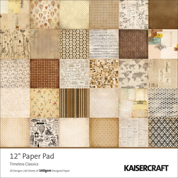 "Timeless Single-Sided 160gsm Paper Pad 12""X12""-Classics 60 Sheets - 30 Designs/2 Each"