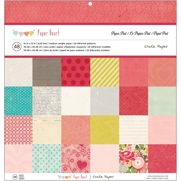 """Crate Paper Paper Pad 12""""X12"""" 48 Sheets-Paper Heart 24 Designs/2 Each"""