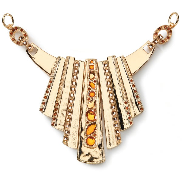 Styled by Tori Spelling (TM) Statement Necklace Bottom-Gold And Topaz 1/Pkg