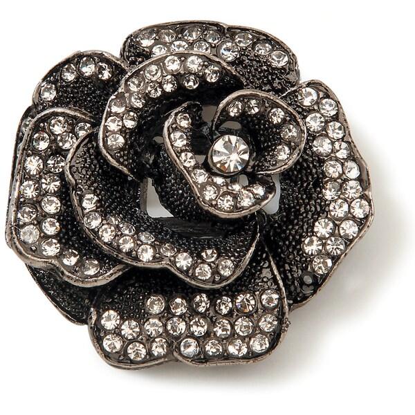 Styled by Tori Spelling (TM) Rose Pendant W/Crystals-Hematite 1/Pkg