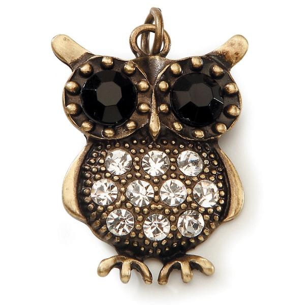 Styled by Tori Spelling (TM) Owl Pendant -Bronze W/Rhinestones 1/Pkg