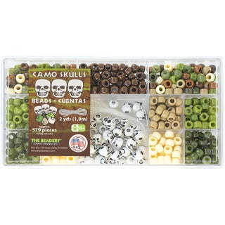 Beadery Bead Box Kit 579 Plastic Pony Beads/Pkg - Camo Skulls Mix