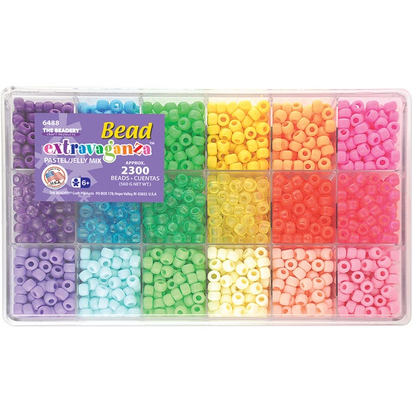 Giant Bead Box Kit 2300 Beads/Pkg-Pastel & Jelly