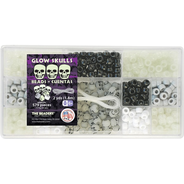 Bead Box Kit 579 Beads/Pkg-Glow Skulls