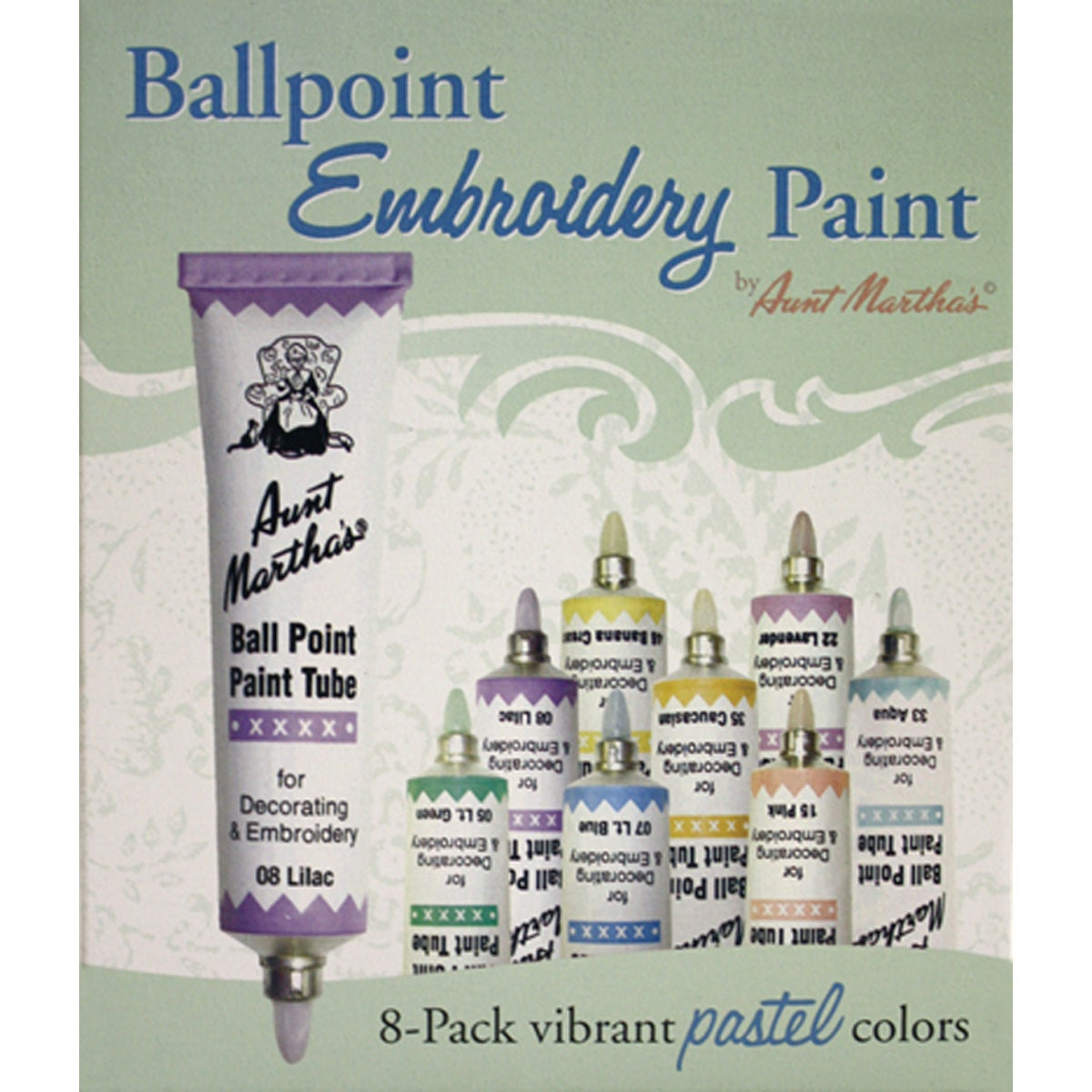 Aunt Martha's Ballpoint Paint Tubes 1 Ounce 8/Pkg-Pastel Colors