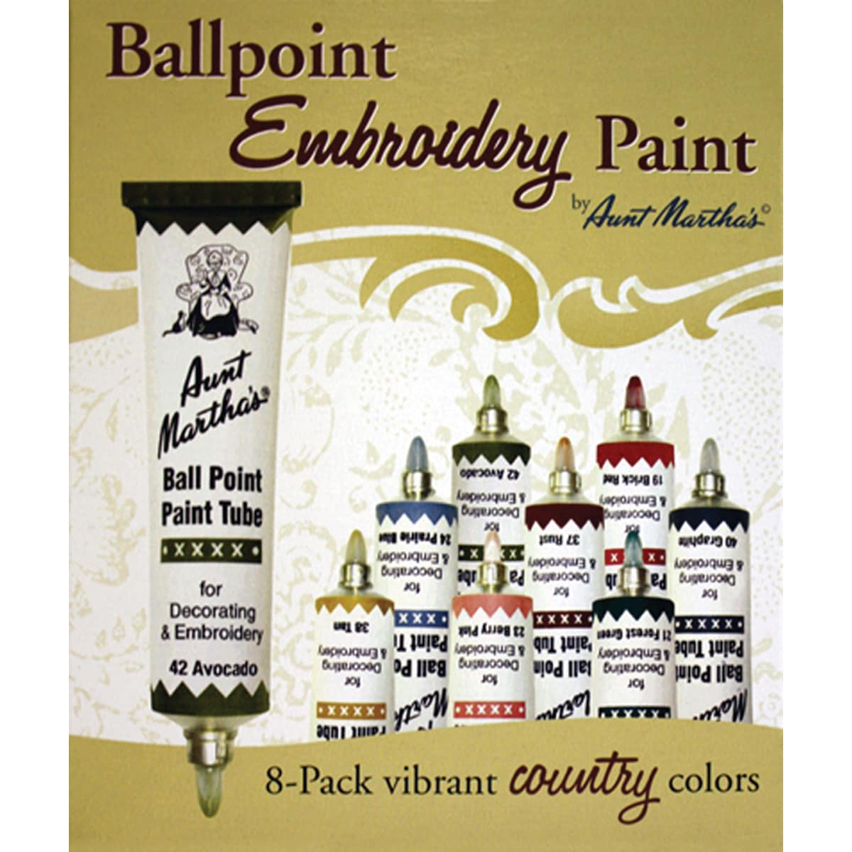 Aunt Martha's Ballpoint Paint Tubes 1 Onuce 8/Pkg-Country Colors