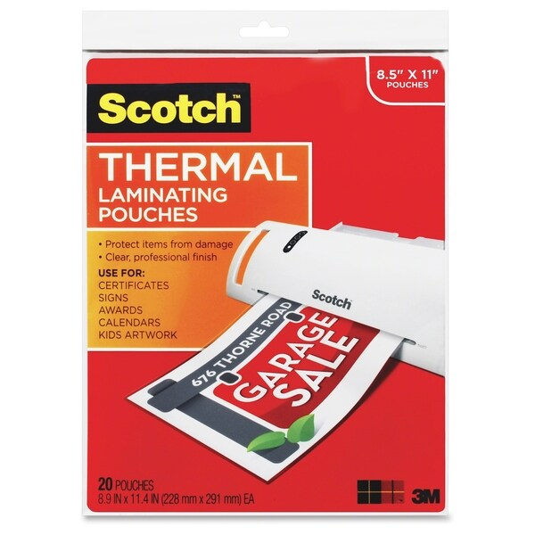 "Scotch Thermal Laminator Pouches 20/Pkg-8.5""X11.4"""