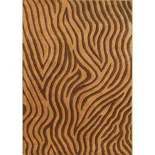 Alliyah Hand-made Brown New Zeland Blend Wool Rug (5' x 8')