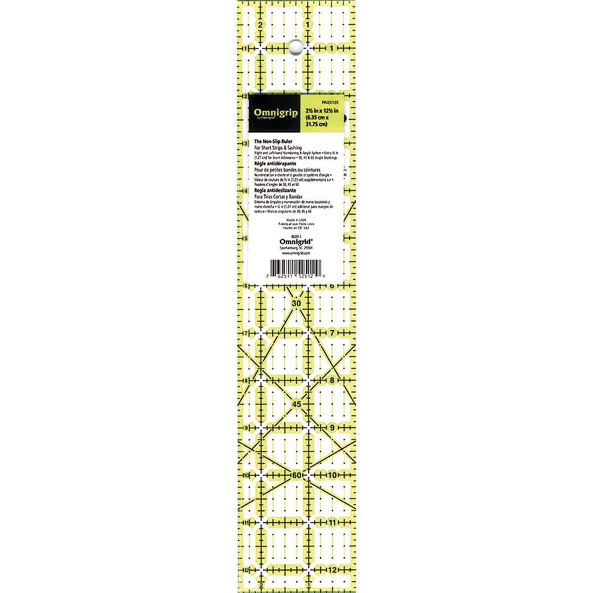 "Omingrip Non-Slip Quilter's Ruler-2-1/2""X12-1/2"""