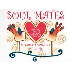 "Soul Mates Anniversary Record Crewel Embroidery Kit-12""X9"" Stitched In Cotton And Wool"