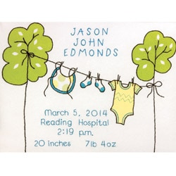 Clothesline Birth Record Crewel Embroidery Kit-12X9in Stitched In Cotton And Wool