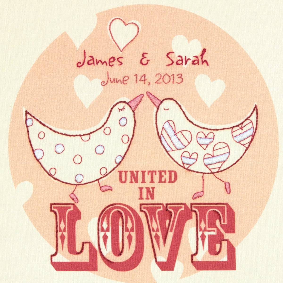 """Love Birds Wedding Record Crewel Embroidery Kit-10""""X10"""" Stitched In Cotton And Wool"""