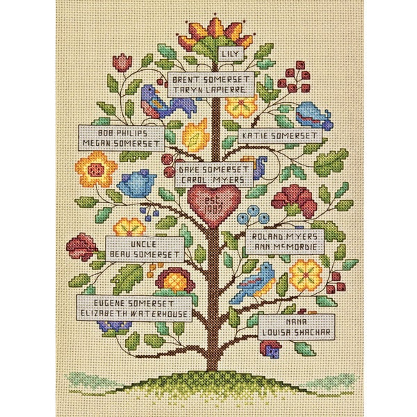 "Vintage Family Tree Counted Cross Stitch Kit-9""X12"" 14 Count"