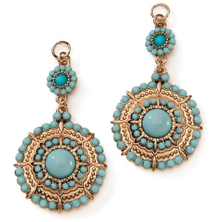Styled by Tori Spelling (TM) Medallion Drop Danglers-Gold And Turquoise 2/Pkg