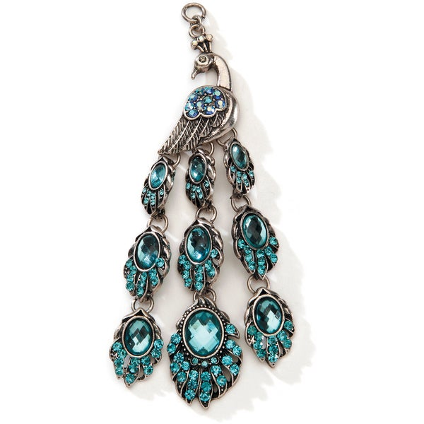 Styled by Tori Spelling (TM) Peacock Pendant-Silver And Turquoise 1/Pkg