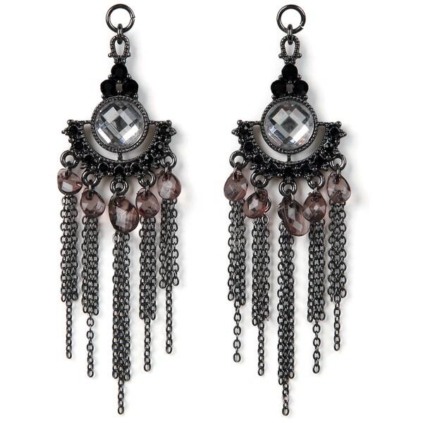 Styled by Tori Spelling(TM) Chain,Crystal,Teardrop Danglers-Hematite 2/Pkg
