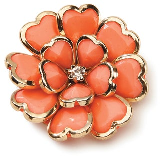 Styled by Tori Spelling (TM) Flower Pendant-Coral And Gold 1/Pkg