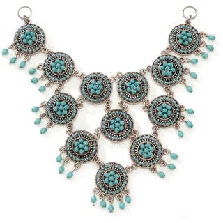 Styled by Tori Spelling (TM) Necklace Bottom-Antique Silver/Turquoise Multi Medallion