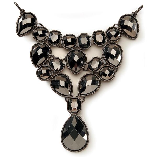 Styled by Tori Spelling (TM) Statement Bib Necklace Bottom-Hematite 1/Pkg
