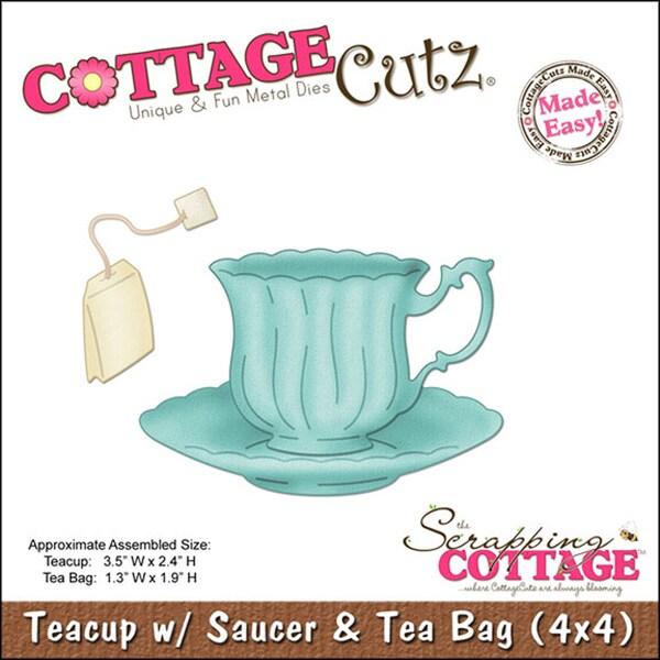 """CottageCutz Die 4""""X4""""-Teacup With Saucer & Tea Bag Made Easy 9629357"""