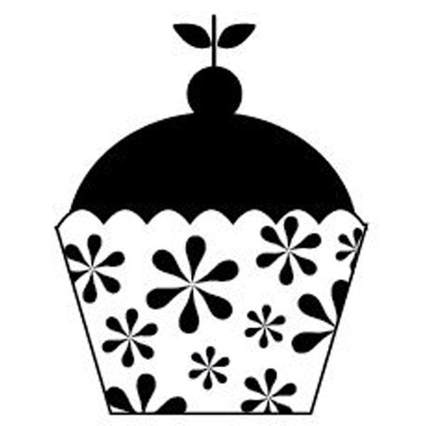 """Mounted Rubber Stamp 2.5""""X2""""-Cute Cupcake"""