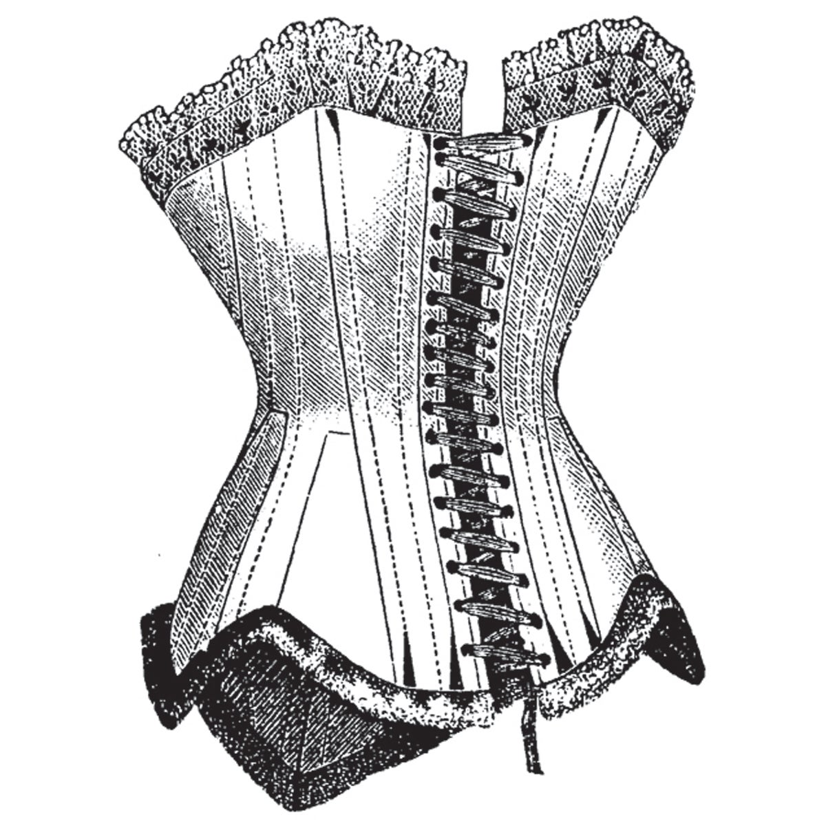 """Mounted Rubber Stamp 2.5""""X2""""-Corset"""