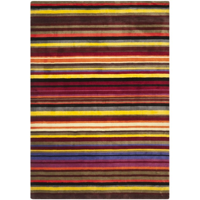 Handmade Rodeo Drive Red Rainbow Stripe Rug (8' x 11')