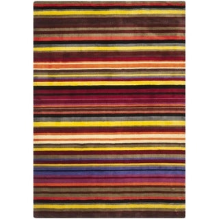 Handmade Rodeo Drive Red Rainbow Stripe Rug (7'6 x 9'6)