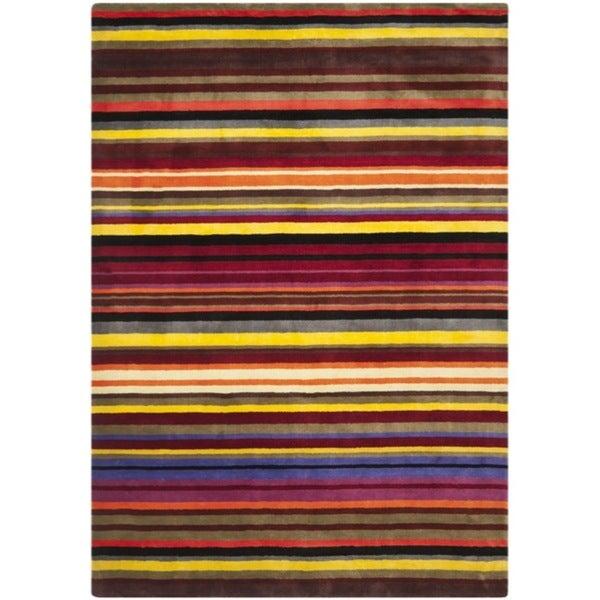 Safavieh Handmade Rodeo Drive Red Rainbow Stripe Rug (6' x 9')