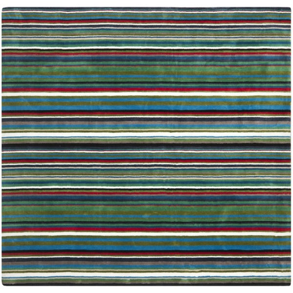 Safavieh Handmade Rodeo Drive Green Rainbow Stripe Rug (8' Square)