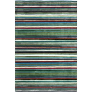 Handmade Rodeo Drive Green Rainbow Stripe Rug (7'6 x 9'6)