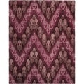Handmade Ikat Dark Brown/ Purple Wool Rug (8' x 10')