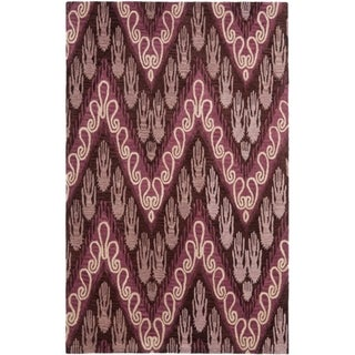 Handmade Ikat Dark Brown/ Purple Wool Rug (5' x 8')