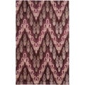Handmade Ikat Dark Brown/ Purple Wool Rug (4' x 6')