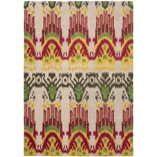 Handmade Ikat Beige/ Yellow Wool Rug (8' x 10')