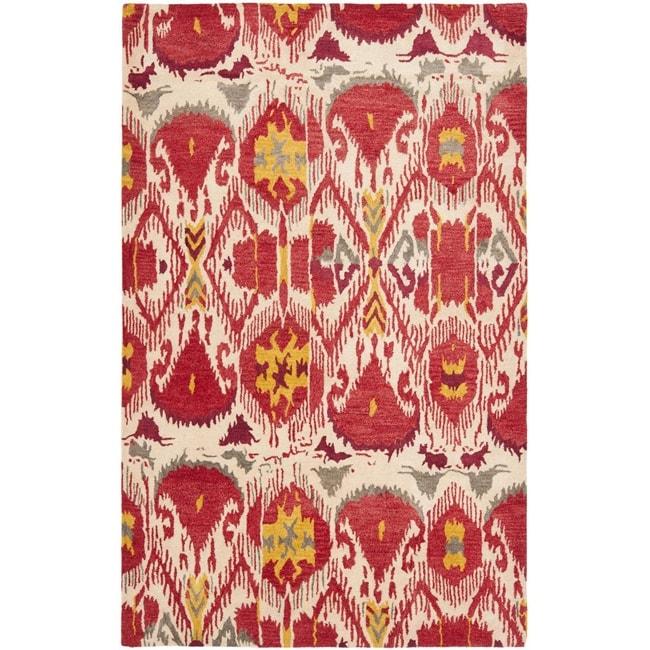Safavieh Handmade Ikat Ivory/ Red Wool Rug (9' x 12')