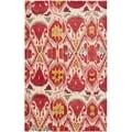 Safavieh Handmade Ikat Ivory/ Red Wool Rug (6' x 9')