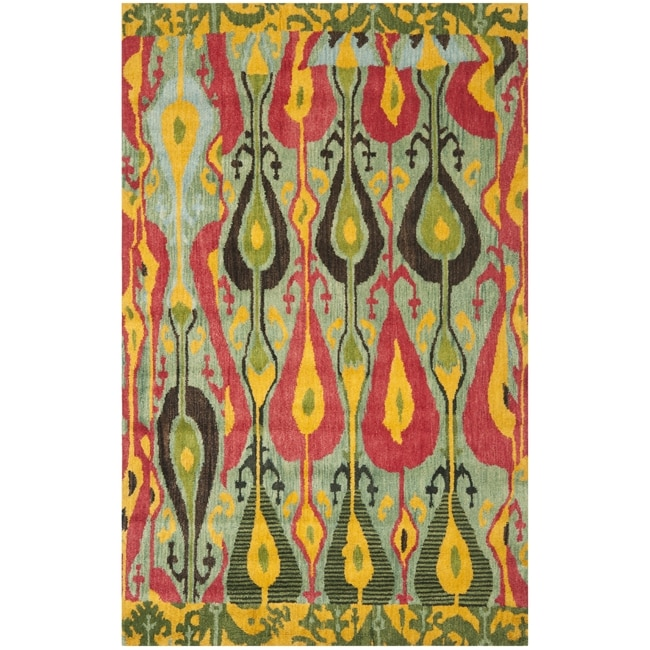 Handmade Ikat Blue/ Green Wool Rug (4' x 6')