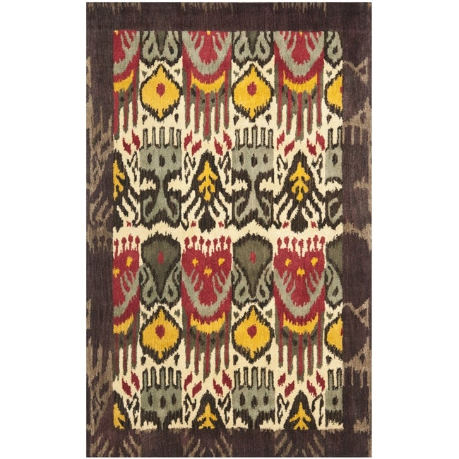 Safavieh Handmade Ikat Cream/ Brown Wool Rug (9' x 12')